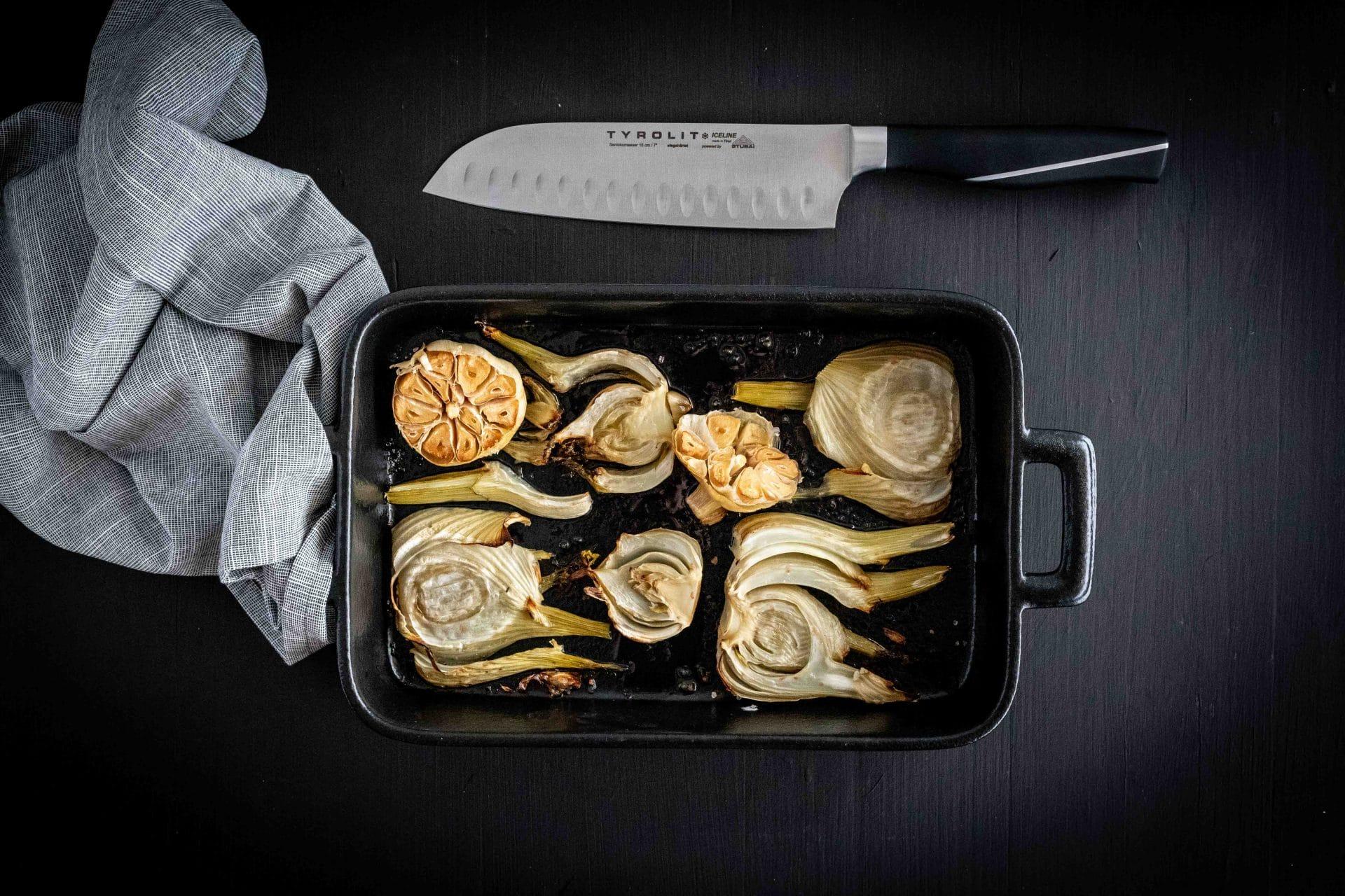 Fenchel aus dem Ofen mit Knoblauch